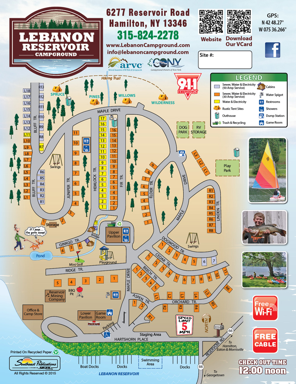 Lebanon Reservoir Campground site map